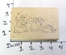 Wooden RUBBER STAMP Block Winter Christmas Holiday Snowman FAMILY