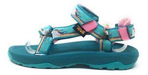 Teva Childrens K Hurricane XLT 2 Hook Strap Sandals Teal White Pink Size 13