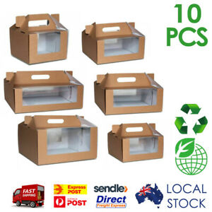 10pcs Brown Kraft Corrugated Carry Cake Box with Window Disposable Recyclable