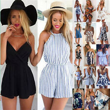 Women Short Playsuit Jumpsuit Beach Summer Holiday Shorts Romper Mini Dress