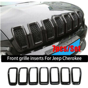 For 2014-18 Jeep Cherokee Front Grille Grill Insert Ring Cover Trim Black ABS 7x