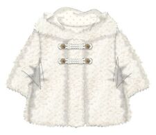 Baby Girls Fur Coat Winter Shell White Ivory Warm Lined Romany Fluffy 0-12 month