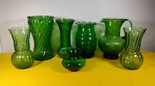 7 Forest Green Glass Assorted Size Vases & Pitcher ~ 1 Vase Is Hoosier Glass