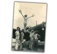 """War Photos Aircraft Pin Up Nice Girl & Pilots sexy woman Size """"4 x 6"""" inch ζ"""