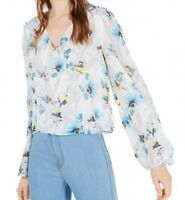 Bar III Womens Blouse White Size Medium M Floral Chiffon Back Keyhole $49 089