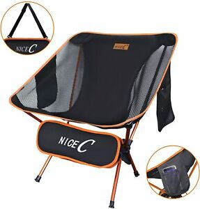 NiceC Ultralight Portable Folding Backpacking Camping Chair with 2 Storage Bags