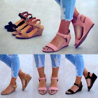 Women Comfy Ankle Strap Wedge Buckle Sandal Summer Open Toe Slingback Shoes Size