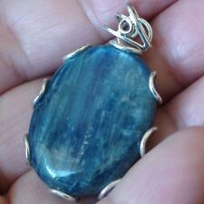 BIG! 65.85 ct NATURAL KYANITE PENDANT, ESTATE JEWELRY 925 STERLING SILVER.