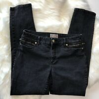 Chicos So Slimming Ankle Jeans Pants Stretch Gold Zipper Pockets Size 1