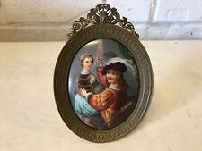 Antique Painted Porcelain Plaque w/ Cavalier Man & Woman Drinking in Frame