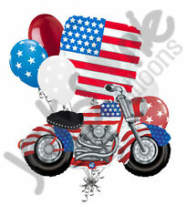 7 pc Patriotic Motorcycle American Flag Balloon Bouquet USA 4th July Veteran Day