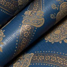 Blue Beige Damask Wallpaper Luxury Textured Modern Moselle Feature Holden Decor