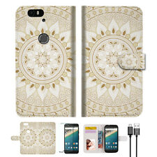 White AZTEC TRIBAL Wallet Case Cover For Google Pixel 2 -- A006