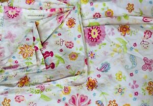 Pottery Barn Kids GARDEN PARTY Full Size FLAT Sheet 100% cotton Pink FLORAL