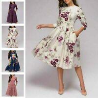 A-line Dress Vintage Women Retro Tunic 3/4 Sleeved Print Floral Sundresses S-3XL