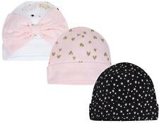 BIRDS Blue NWT GERBER NEWBORN BABY GIRL/'S 3-Pack Cotton Caps Hats