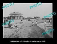 OLD 8x6 HISTORIC PHOTO OF St KILDA BEACH MELBOURNE VICTORIA ca1900