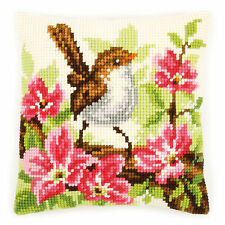 Bird and Pink Flowers  :Vervaco Chunky Cross Stitch Cushion Kit - PN0148693