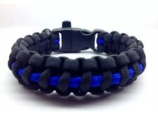 Paracord Bracelet Thin Blue Line w/ whistle Handmade Survival Hiking USA Made