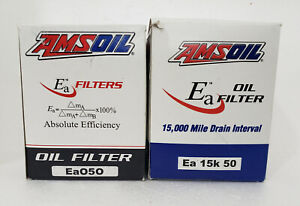 """2 New Genuine Amsoil """"EA 15K 50 & Ea 050"""" Oil Filter Fits GM & Chevy 5.8L Engine"""