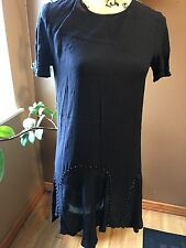 ZARA WOMENS SIZE SMALL NAVY STUDDED TOP TUNIC TOP DRESS