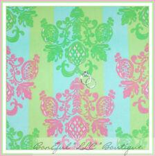BonEful Fabric BT*2Y YARD Cotton Quilt Flower Baby Damask Aqua Pink Green Stripe