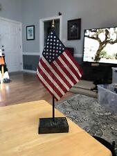 "Usa American U.S.A. 4""x6"" Flag w/Wood Base~Displayed Condition"