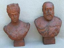Royalty Antique Terracotta Busts Edward Vii Queen Alexandra Enfield Accrington C
