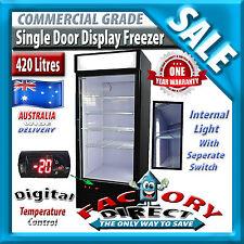 490lt Single Door Commercial Grade Upright Display Freezer 12 Months Waranty
