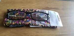 $20 Sight Station by Foster Grant +1.00 Black Reading Glasses & soft case Alexa
