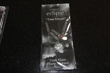 New Sealed Unisex Twilight Saga Eclipse Team Edward Triple Chain Charm Necklace