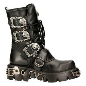 New Rock 391-S1 Unisex Black Boots Metallic Reactor Goth Punk Rock Biker boots