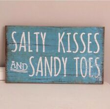 SHABBY BEACH STYLE CHIC DISTRESSED  SALTY KISSES AND SANDY TOES PLAQUE SIGN