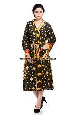 Ladies Womens Astrology Print Indian Bath Robe Dressing Gown Wrap Housecoat Warm