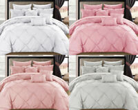 LUXURY PINTUCK BEDDING SILVER PINK DUVET QUILT COVER SET PERCALE COTTON DOUBLE