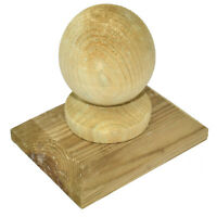 Free PnP Great Price 100mm Wooden Ball /& Collar Tanalised Post Cap Softwood