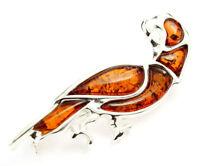 925 Sterling Silver & Baltic Amber Jewellery - AC802C - Designer Brooch