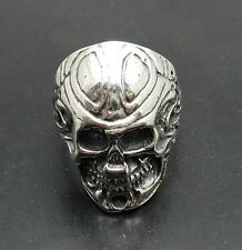 STERLING SILVER BIKER RING SOLID 925 SKULL ADJUSTABLE SIZE R001029