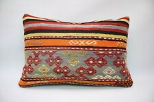 "Kilim Lumbar Pillow, 16""x24"", Decorative Throw Pillow, Handmade Vintage Pillow"