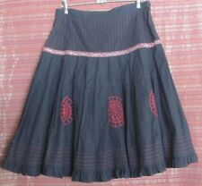 BARKINS Size 12 Black & Red Full Skirt, Red Embroidery and Ribbon Trim
