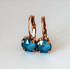 Rose Gold Plated Azure Blue Leverback Earrings with Swarovski Crystal Element