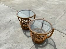 VINTAGE SET OF 2 BAMBOO RATTAN BENTWOOD ROUND GLASS TOPPED SIDE END TABLES