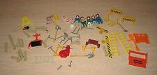70+ PIECE LOT, Vintage Playmobil Geobra 1974 CONSTRUCTION FIGURES ACCESSORIES