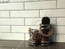 "WHITE CARRARA Subway Backsplash Tile Ceramic BEVELED 4"" X 16"" KITCHEN BATHROOM"