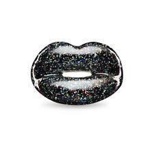 Solange Azagury BLACK Glitter Hotlips Ring Sterling Silver 925 Size 7 Brand New