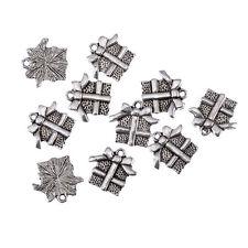 Present Christmas Tibetan Silver Bead Charms Pendants Fit Bracelet 10Pcs