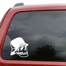 "German Soldier Skull Car Window Decor Vinyl Decal Sticker- 6"" Tall White"