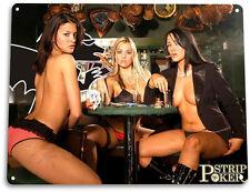 "TIN SIGN ""Strip Poker"" Blue Metal Decor Wall Art Garage Shop Bar Cave A625"