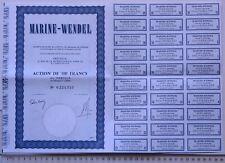 ACTION AU PORTEUR 100 FRANCS MARINE-WENDEL GROUPE 1977 RARE TITRE SOCIÉTÉ BOURSE
