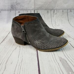 Lucky Brand Womens Brielley Suede Booties Sz 6M Gray Perforated Zipper
